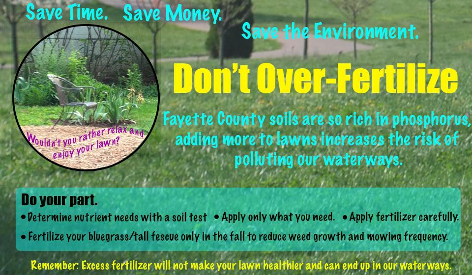 Infographic discourages excess fertilization and encourages proper fertilizer application: source, rate, timing, place